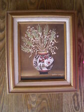 ROBUST OIL PAINTING OF NATIVE AMERICAN POTTERY WITH FLOWERS BY GOLDIE WALKER '86