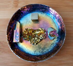 Rainbow Dish, trinket, with healing Crystals! - Pendulum, Heart & Rose - Set
