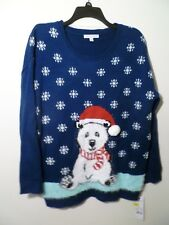 Notations Ladies Xmas Pullover Sweater Blue PXL NWT MSRP $64