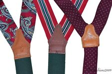 Lot Of 3 Polo Ralph Lauren Suspenders Braces Paisley Stripe Burgundy Red Green