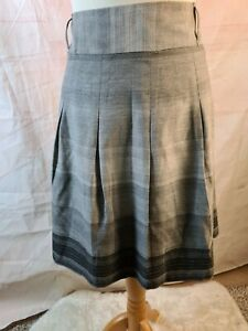 Autograph By M&S Grey Check Print Pleated Lined A-Line Skirt Size 16