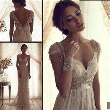 New White/ Ivory Wedding Dress Vintage Lace Bridal Gown Custom size 4-26++