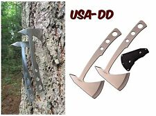 2 PC Stainless Steel Survival Combat Hunting Throwing Axe Tomahawk Set Camping