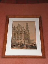 ANTIQUE LOUIS HAGHE LITHOGRAPH THE TOWN HALL AT OUDENAARDE, BELGIUM, CIRCA 1850