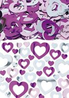 Hearts Shimmer | Pink Silver Wedding Table Confetti | Foiletti Decoration 14-84g