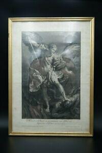 † y.1734 ST MICHAEL ARCHANGEL after GUIDO ORIGINAL ETCHING by JOHANN JAKOB FREY