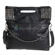 Women Rivet Studded Tote Shoulder Messenger Handbag Hobo Bag Shoulder Bags Black