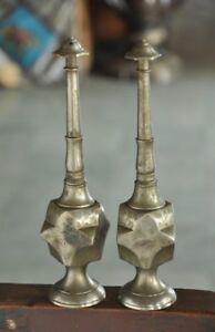 2 Pc Old Brass Nickel Plated Engraved Handcrafted Rose Water Bottle/Sprinkler