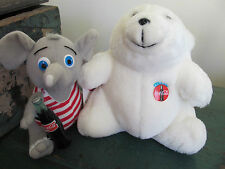(2) Coca-Cola Stuffed Animals, Polar Bear and Elephant (Orig Tag on Elephant)