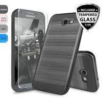 For Samsung Galaxy J7 Prime/Sky Pro Brushed Hybrid Shockproof Case+Glass Screen