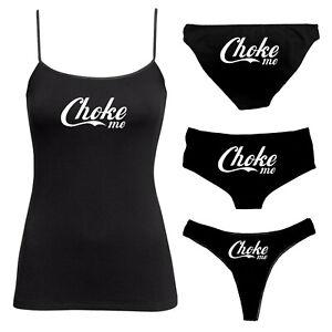 Choke Me Knickers & Camisole Set - BDSM Vest Twin Set - Thong, Boy Shorts 135