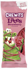 Chewits Boot Laces Strawberry Flavour Chewy Soft Sweets. 250g Retro Whips Lances