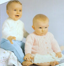 """Baby Knitting Pattern Vintage Lacy Sweater & Cardigan DK 16-20""""/40-50 cms S7604"""
