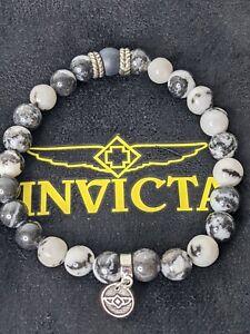 Invicta Elements Men's Zebra Japser Beaded Bracelet 35898