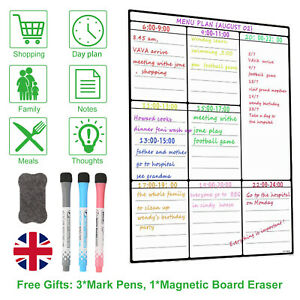 A3 Magnetic Whiteboard and Dry Wipe Weekly Planner or Notice Board for Fridge