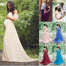 f84daefdd88 Photography Prop Pregnant Women Lady Off Shoulder Lace Maxi Dress Gown  Maternity
