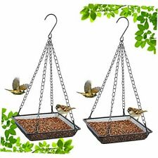 New listing Hanging Bird Feeder Tray, Metal Mesh Hanging Seed Tray Feeders, Square 2 pack