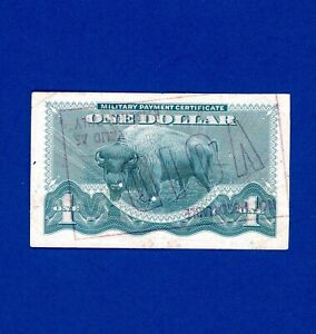 1968  $1 MPC SERIES 692 BISON LOW MID GRADE RARER STAMP CANCELLED NOTE