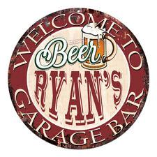 CPBG-0049 BEER RYAN'S Garage Bar Chic Tin Sign Man Cave Decor Gift Ideas