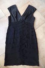 ADRIANNA PAPELL Black V Neck Layered Ruffle Cocktail Sheath Dress 16