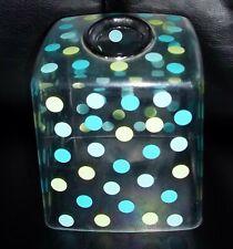 InterDesign Glee aqua green polka dot clear plastic boutique tissue box cover