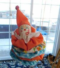 Vintage YOYO Clown Doll Christmas Ornament~Wood/Fabric