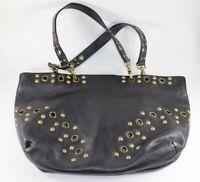 Hobo International Pebbled Leather Black Satchel Tote Shoulder Bag Bronze Studs