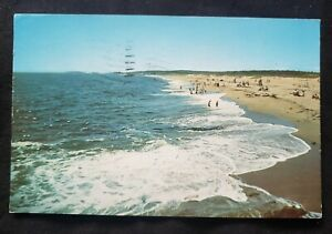 Vintage Maine Postcard Mile Beach at Reid Park Gardiner Postmark