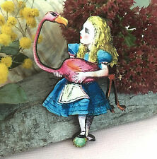 Alice in Wonderland wood BROOCH, Pink flamingo pin, Fantasy fashion jewellery