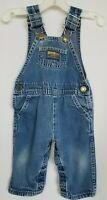 OshKosh B'Gosh Size 12 Months 80's Blue Denim Overalls USA Vintage Vestbak