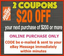 TWO 2x Home Depot Coupon $20 OFF $200 ONLINE USE ONLY Fast Immediate Delivery