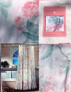 NEW Vintage Shower Curtain Flounce White Pink Cherry Roses 72x72 Cottage Bathub