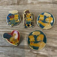 Vintage The Simpsons Lapel Pin Lot 1990 Matt Groening Homer Marge Bart Bartman