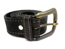 Mens Black Leather Belt Size 32 With Brass Buckle