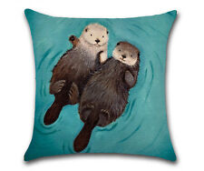 Cute Cartoon Otter Cotton Linen Pillow Case Sofa Throw Cushion Cover Home Decor