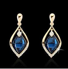 GOLD PLATED SAPPHIRE BLUE TEARDROP STUD EARRINGS 4cms LONG IN A VELVET BAG