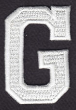 """LETTERS - WHITE BLOCK LETTER """"G"""" (1 7/8"""") - Iron On Embroidered Applique Patch"""