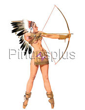 Sexy Pinup Girl Waterslide Decal Sticker American Indian Bow and Arrow S585