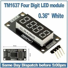 """4 Digit 7 segment LED display module with clock points 0.36"""" WHITE LEDs"""