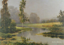 "28"" PRINT Foggy Morning,1897 by Ivan Shishkin ANTIQUE MUSEUM ART"