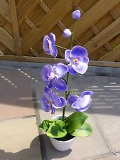Artificial Potted Plants LED Light Up Lilac Orchid 56cm In White Ceramic Pot