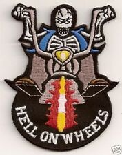 HELL ON WHEELS SKELETON Skull Motorcycle Embroidered Biker Fun Patch PAT-0792