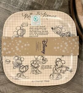 Disney Sketchbook Bamboo Dinner Snack Lunch Plates Mickey Mouse Set of 4 NEW