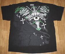 MMA Elite Fighting  Black T-Shirt Green and White skull cross graphics MENS XXL