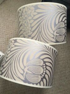 Stunnning lilac & stone design Graham & Green lampshades, near perfect condition