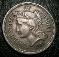 Old US Coins 1881  Obsolete Three Cent Piece Beauty 3 c