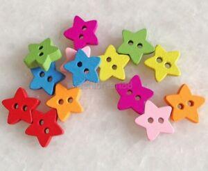 100 PCS Mixed Color Small Star Shape 2 Holes Wood Sewing Button Scrapbook fnk011