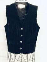 Margaret Godfrey Solid Black Fringe Suede Vest- WOMEN SIZE M (MED) FAST SHIPPING