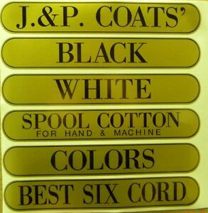 J & P COATS SPOOL CABINET DECALS 6 PIECE SET / Black on Gold 9 1/2 X 1 11/16