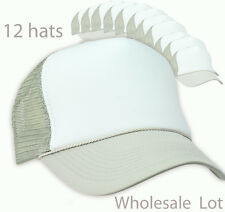 Wholesale Lot 12 Trucker Hats Grey White Gray Mesh Adjustable Snapback CAP dozen